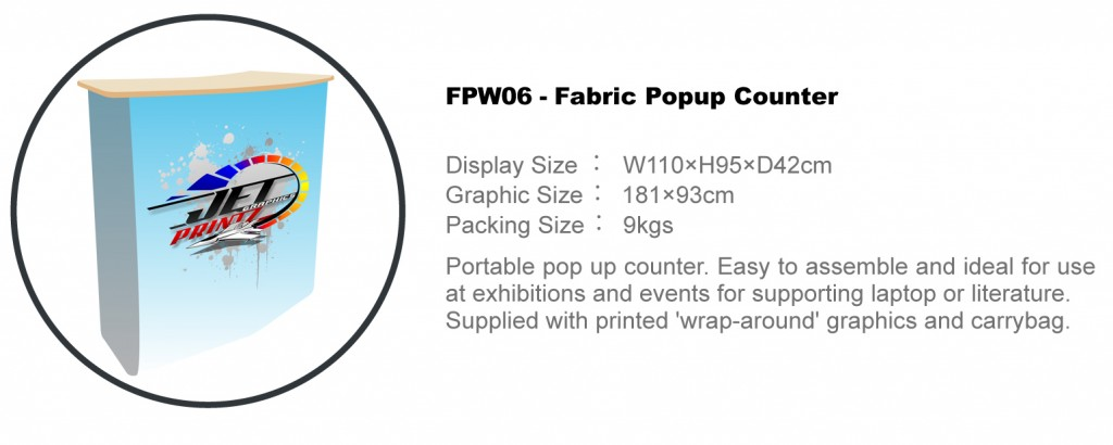 FPW06 POP UP FABRIC COUNTER